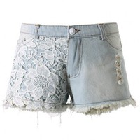Floral Crochet Denim Cutoff Shorts