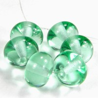 Pale Emerald Green Beads Handmade Lampwork Glass Beads Transparent SRA