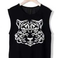 Tiger Print Top with Chiffon Back in Black
