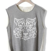 Tiger Print Top with Chiffon Back in Grey