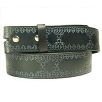 Black Leather Belt Strap Embossed Tooled Leather Men Women For Belt Buckle