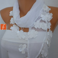 White Floral Scarf -  Cowl Scarf - Cotton Scarf - fatwoman - Bridesmaids Gifts