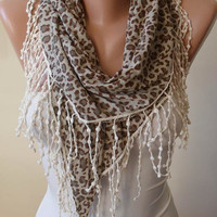 Light Brown - Leopard Triangular Scarf with Cotton Trims Edge