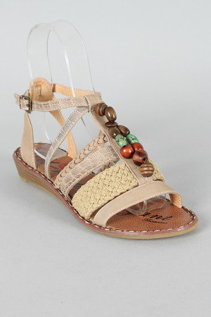 Yely-2 Strappy Beaded Open Toe Flat Sandal