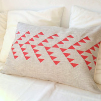 Natural linen pillow cover with geometric design in by PALEOLOCHIC