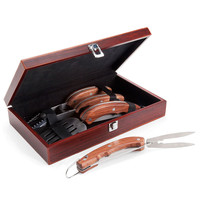 Three-Piece Stainless Steel And Wood Grill Utensil Set With Wooden Box - Plow & Hearth