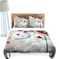 Gray &amp; Red Far Side of the Moon Duvet Cover