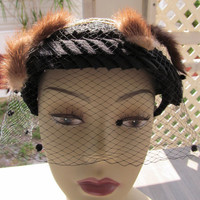 1930's fascinator  hat, netting with mink, fashion accessories