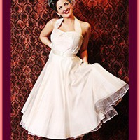 Tea Length Wedding Dresses-Ivory Silk 50s Style Full Skirt Halter Dress-Short Wedding Dresses