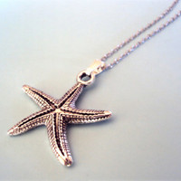 Silver Starfish Necklace Starfish Charm by thewoodlandburrow
