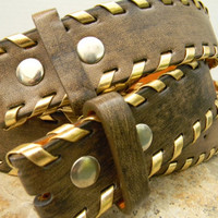 Brown Distressed Leather Snap Belt Strap Woven Gold Laced Men Women For Belt Buckle