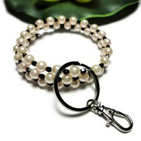 Beaded Keychain Bracelet Pastel Pink Black Memory Wire Id Badge Pearl