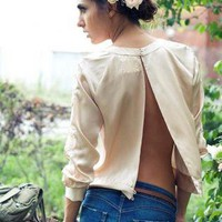 Pencey Open Back Embroidered Silk Sweatshirt