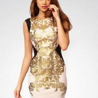 Bqueen Retro Print Bandage Dress H524