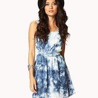 Cutout Tie-Dye Chambray Dress