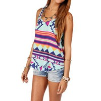 Mint Sleeveless Tribal Print Tank Top