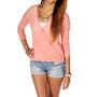 Coral Slub Wrap Woven Top