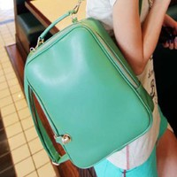 Trendy Street Style Womens Handbag Backpack Solid Zip Closure Faux Leather Bk