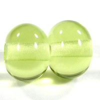 Yellow Green Beads Shiny Handmade Lampwork Beads Glossy Beads Spacers