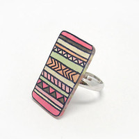 Tribal Ring  Free shipping Pastel pink Aztec jewelry by MakeUnique
