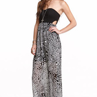 Fire Strapless Cutout Mix Fabric Maxi Dress at PacSun.com