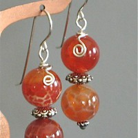 Earrings -Fire Agate 10mm silver filled wire wrapped