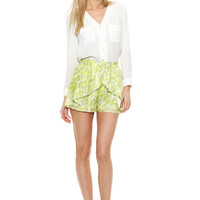 BCBGeneration Lime Printed Woven Short with Pleated Detail
