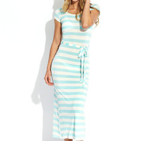 FASHION INSTINCTS Seafoam/Ivory Scoop Neck Striped Maxi Cover-Up Dress