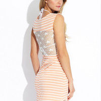 FASHION INSTINCTS Coral/Ivory Crochet Back Striped Short Cover-Up Dress