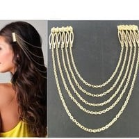 New Ladies Metal Chain Fringe Tassel Hair Comb Cuff Head Hairband, 1 Piece (golden color)