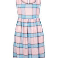 Pink and Blue Checked Dress