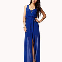 Buttoned Chiffon Maxi Dress