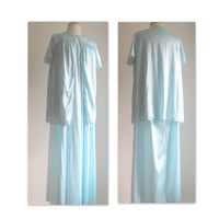 Vintage Pastel Blue Maxi Gown and Bed Jacket Set Size XL