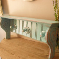 upcycled Aqua blue Shabby chic Scrolly bead board Southwestern Rustic Cottage Shelf