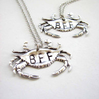 silver crab bff necklace set - best friends jewelry