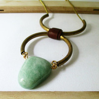 Chunky Stone Bohemian Statement Necklace. Green Aventurine &amp; Vintage Brass