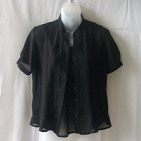Sequel black medium short-sleeve blouse & sleeveless top with adjustable straps