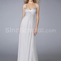 Ivory Chiffon Straps Floor/Full Length Bridesmaid Dress  -SinoSpecial.com