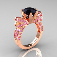 French 14K Rose Gold 3.0 CT Black Diamond Light Pink Sapphire Engagement Ring, Wedding Ring R382-14KRGLPSBD