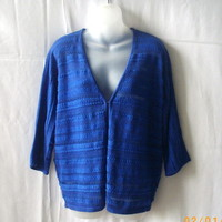Jones New York Signature blue 3/4 sleeve medium acrylic/cotton/rayon cardigan