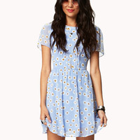 Daisy Print Dress w/ Belt