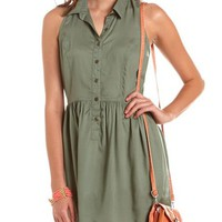Racerback Challis Shirt Dress: Charlotte Russe