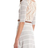 Lace Back Hacci Skater Dress: Charlotte Russe
