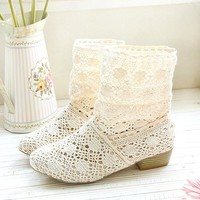 Casual Hollow Knitted Flattie Ankle Boots