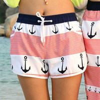 Anchor pattern stripe beach shorts