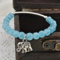 Handmade Silver Elephant Aquamarine Bracelet