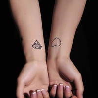 4 Pcs Trendy Heart and Diamond Print Temporary Nontoxic Tattoo Stickers - Tattoos - Makeup - Women Free Shipping