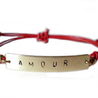 AMOUR Hand Stamped Brass And Leather Bracelet