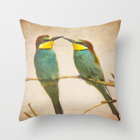 Love time. Bee-eaters Throw Pillow by Guido Montañés