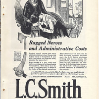 L C Smith Typewriter, White House Coffee, Horlick&#x27;s Malted Milk, 1923 Vintage print advertisement